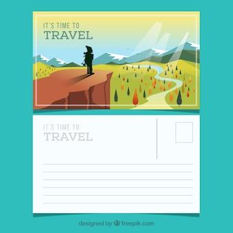 Modelo de cartão postal de viagem com estilo adventrure