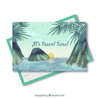 Modelo de cartão postal de viagem com paisagem em aquarela