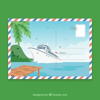 Modelo de cartão postal de viagem desenhada de mão
