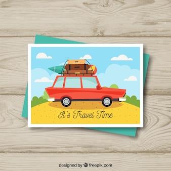 Modelo de cartão postal de viagem plana com carro