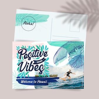 Modelo de cartão postal de viagens criativas para o havaí