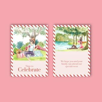 Modelo de cartão postal definido com conceito de viagem de piquenique