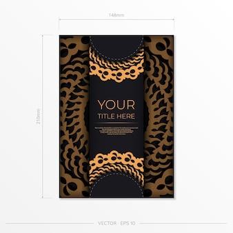 Modelo de cartão postal em ouro preto escuro com ornamento mandala indiano branco. elementos do vetor elegantes e clássicos prontos para impressão e tipografia.