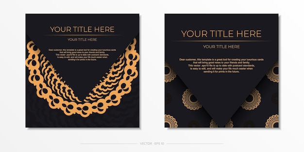 Modelo de cartão postal em ouro preto escuro com ornamento mandala indiano branco. elementos elegantes e clássicos prontos para impressão e tipografia. ilustração vetorial.