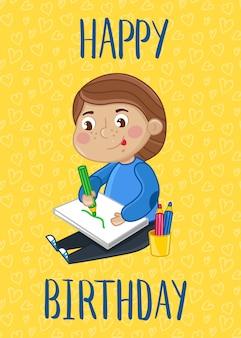 Modelo de cartão postal - feliz aniversário crianças