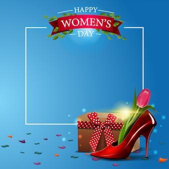 Modelo de cartão postal moderno saudação azul para o dia da mulher