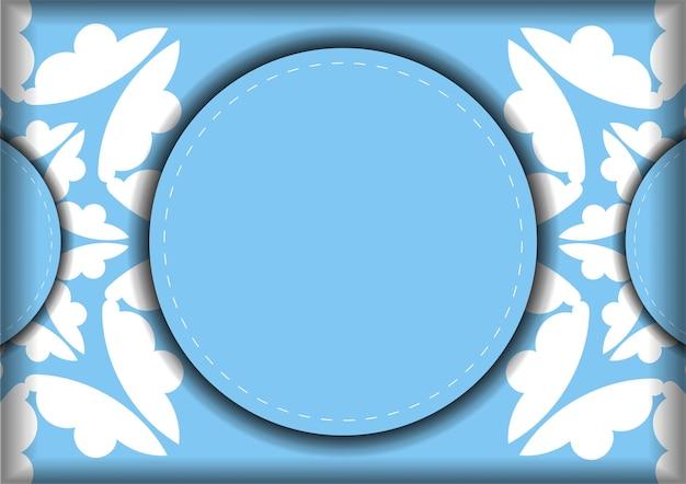 Modelo de cartão postal na cor azul com ornamento mandala branco para os seus parabéns.