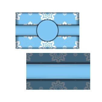 Modelo de cartão postal na cor azul com padrão branco vintage para seu projeto.