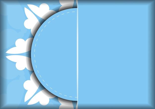 Modelo de cartão postal na cor azul com padrão de mandala branco para seus parabéns.