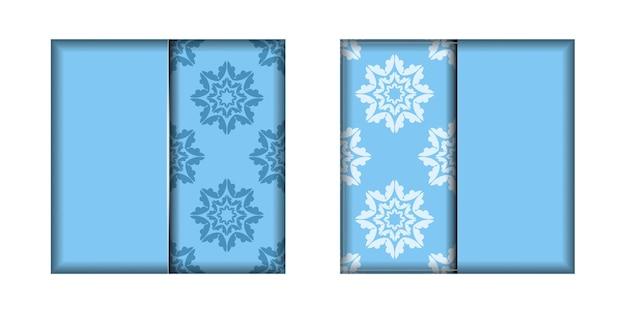 Modelo de cartão postal na cor azul com um padrão branco abstrato para a sua marca.