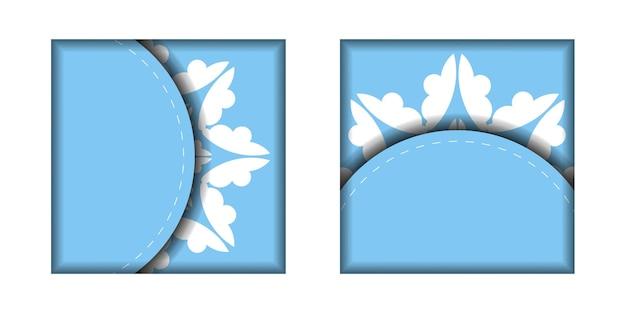 Modelo de cartão postal na cor azul com um padrão branco abstrato para seu projeto.
