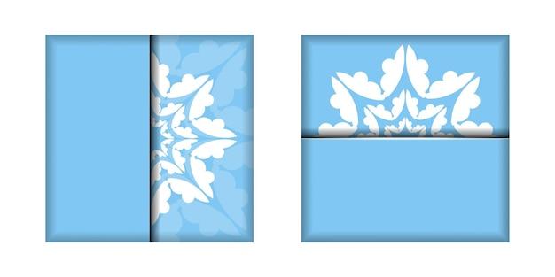 Modelo de cartão postal na cor azul com um padrão branco abstrato para seus parabéns.