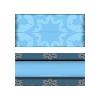 Modelo de cartão postal na cor azul com um padrão vintage branco para seus parabéns.