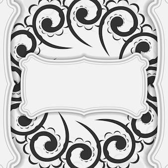Modelo de cartão postal na cor branca com padrão preto luxo