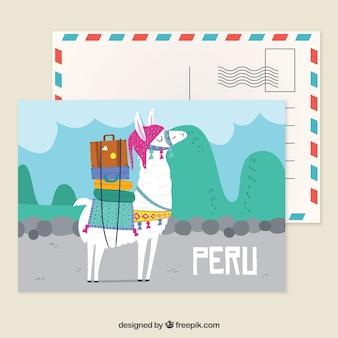 Modelo de cartão postal peru com estilo mão desenhada