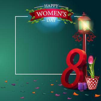 Modelo de cartão postal verde saudação moderna para o dia da mulher