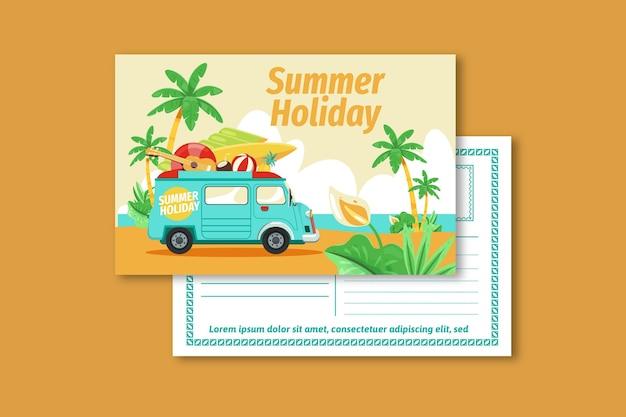 Modelo de cartão postal vintage de férias de verão