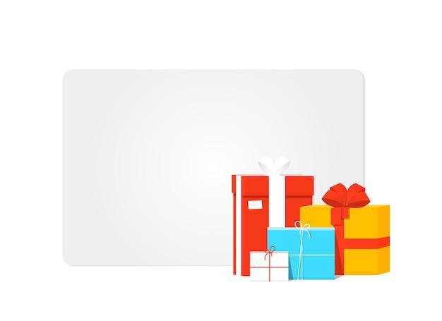 Modelo de cartão-presente cinza em branco com caixas de presente