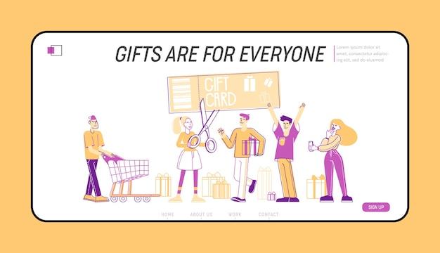 Modelo de cartão-presente e página inicial de venda