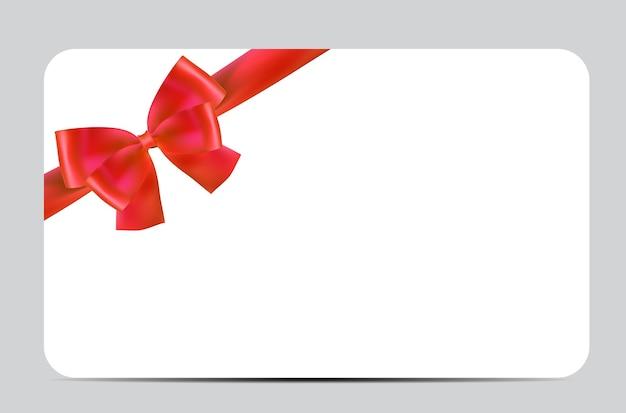 Modelo de cartão-presente em branco com laço e fita vermelha