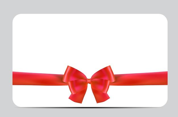 Modelo de cartão presente em branco com laço vermelho e fita.
