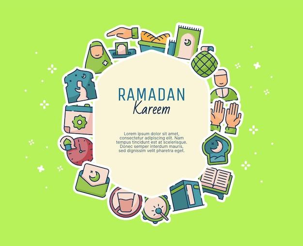 Modelo de cartão-presente ramadan kareem com estilo simples moderno e elementos do ramadã