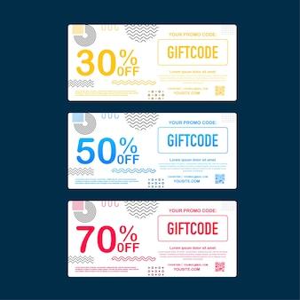 Modelo de cartão-presente vermelho e azul. código promocional. vale-presente com código de cupom. ilustração das ações.