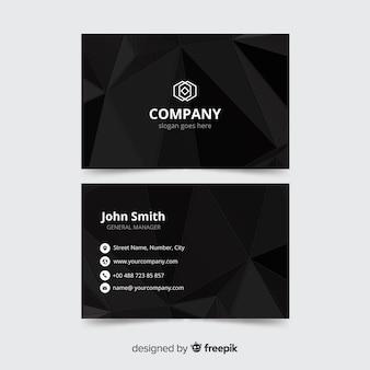 Modelo de cartão preto, frente e verso design