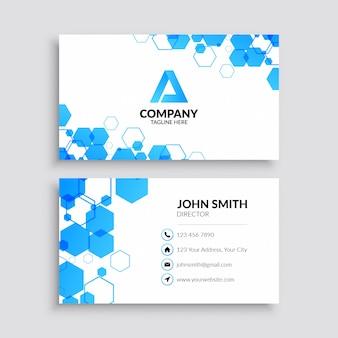 Modelo de cartão profissional com padrão azul hexágono