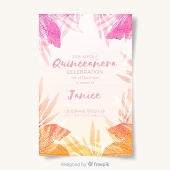 Modelo de cartão quinceanera tropical