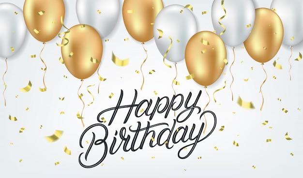 Modelo de cartão realista de feliz aniversário