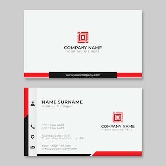 Modelo de cartão simples vermelho e preto para negócios modernos