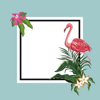 Modelo de cartão tropical exótico flamingo