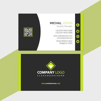 Modelo de cartão verde e preto