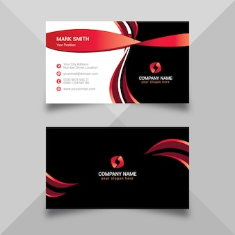 Modelo de cartão vermelho e preto