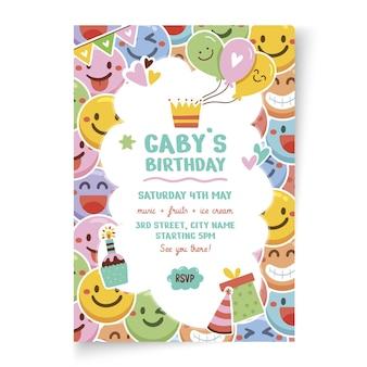 Modelo de cartão vertical de aniversário infantil