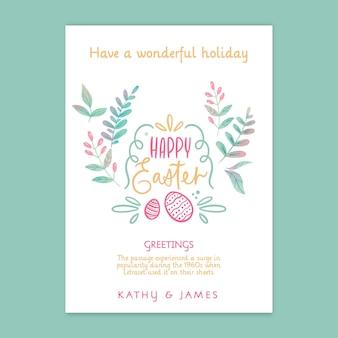 Modelo de cartão vertical de feliz dia de páscoa