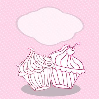 Modelo de cartão vintage com bolinho. para aniversário, álbum de recortes, design de padaria.