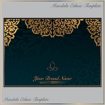 Modelo de cartão vintage com ornamento de mandala de ouro