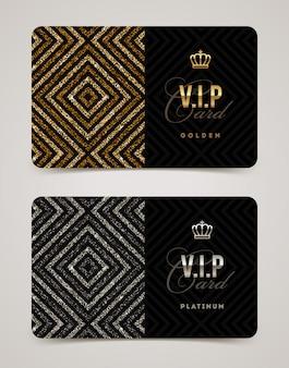 Modelo de cartão vip dourado e platina. ilustração.