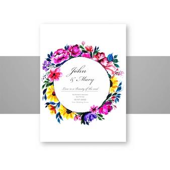 Modelo de cartão widding lindo de flores decorativas