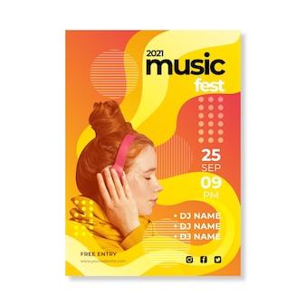 Modelo de cartaz abstrato 2021 evento musical