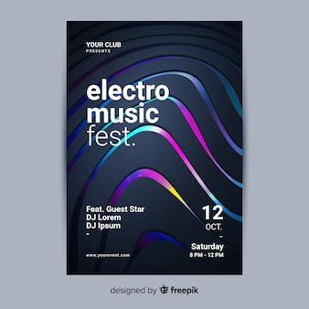 Modelo de cartaz abstrato 3d música eletrônica