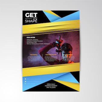 Modelo de cartaz abstrato esportes com foto