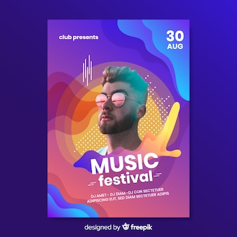 Modelo de cartaz abstrato música colorida com foto