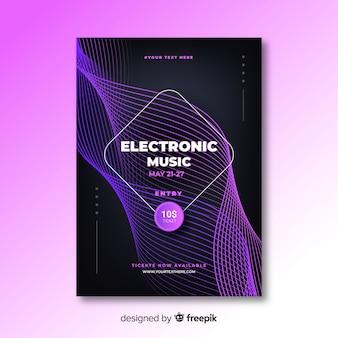 Modelo de cartaz abstrato música eletrônica