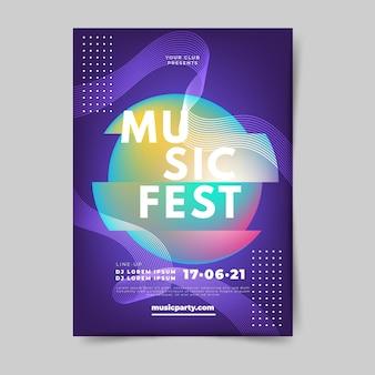 Modelo de cartaz abstrato música gradiente