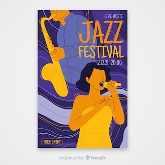 Modelo de cartaz abstrato música jazz