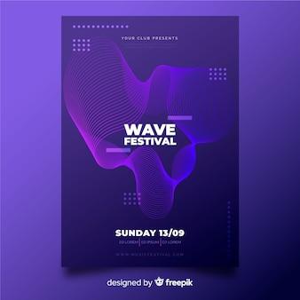 Modelo de cartaz abstrato música ondas