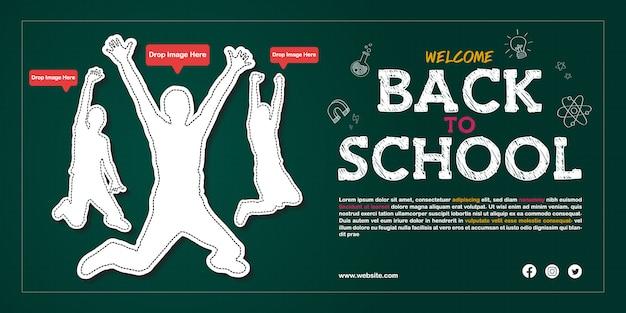 Modelo de cartaz - anúncio de admissão aberta de volta à escola
